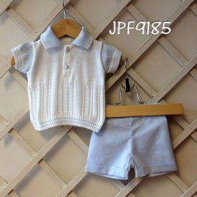 Pretty Originals little boys 2 piece shorts set 100% cotton pale blue & white