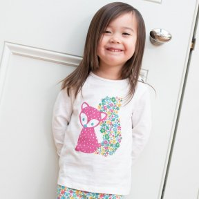 Kite Clothing organic cotton fox and floral print cream long sleeved t-shirt.  A/W19 TG0341