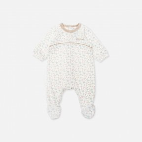 velour mushroom patterned babygrow with yoke and Tutto Piccolo embroidery. White, brown, blue, pink A/W 19 7080