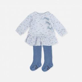 Tutto Piccolo Pale Blue Dress, Tights Set. 7781