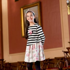 Tutto Piccolo Black Cream Striped Pattered Dress, Tights  Rose Detail 7246