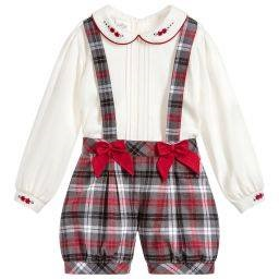 Pretty originals red & grey checked shorts, cream blouse set, bow detail on the shorts BD01748