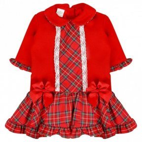 Pretty Originals red tartan dress with lace & bow details MC07218