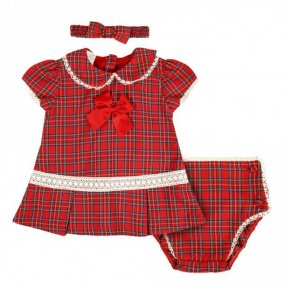 Pretty Originals red tartan dress, pants & headband set with lace  & bow details MT00955