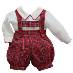 Pretty Originals red tartan shorts & shirt set with braces MT0095