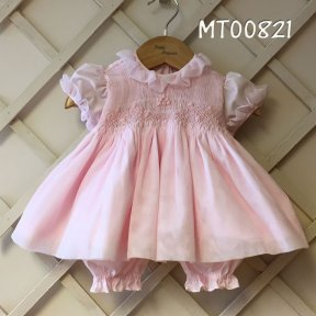 Pretty Originals girls pale pink, net overlay, ruffles, smocked front, 3 piece dress, bloomers and headband set
