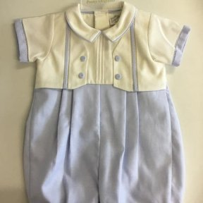 Pretty Originals baby blue & Ivory romper with button detail on the front.  DL61910