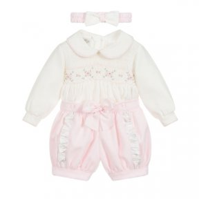 Pretty Originals smocked pink & cream romper with a pink head band MT00937