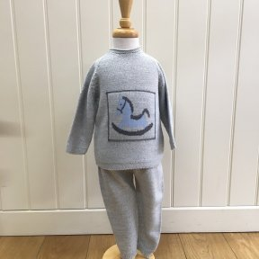 Floc  grey knitted 2 piece set with rocking horse detail