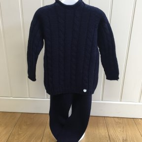 Floc baby navy blue knitted two piece set with a cable knit jumper