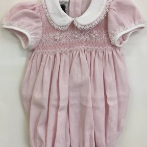 Pretty Originals pale pink smocked short sleeved frilled leg romper suit