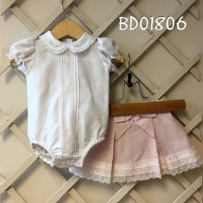 Pretty Originals white & pink 2 piece bodysuit and skirt set
