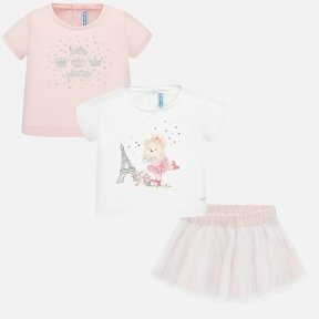 Mayoral 3 piece t-shirts and skirt pink and white set SS20 1950