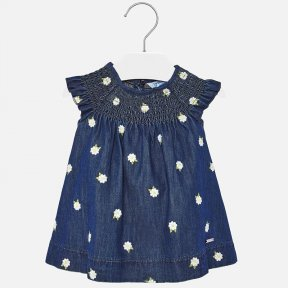 Mayoral denim baby girls dress with elasticated yoke & embroidered with daisies SS20 1933