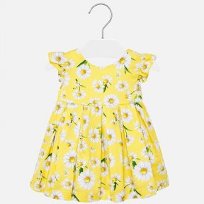 Mayoral baby girls yellow poplin daisy print dress with ruffle detail SS20 1930