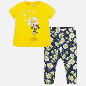 Mayoral girls legging set yellow & navy patterned SS20 1716