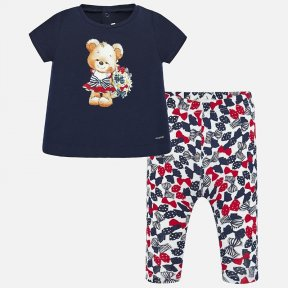 Mayoral White, navy & red bow print leggings & navy blue t-shirt with teddy bear motif 1716