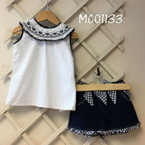 Pretty Original navy & white polka-dot shorts and smocked blouse set