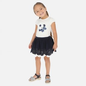 Mayoral girls navy & white sequin t-shirt & skirt set SS20 3965