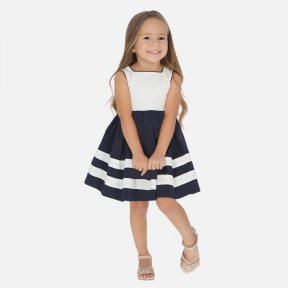 Mayoral girls navy & white dress, stunning bow detail to the back  SS20 3924