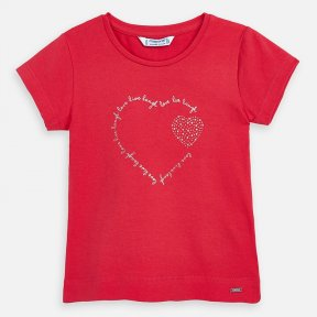 Mayoral girls red t-shirt with heart design SS20 174
