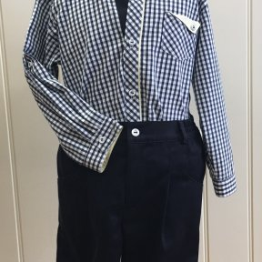 Pretty Originals boys navy and white gingham 100% cotton tailored shorts and shirt set