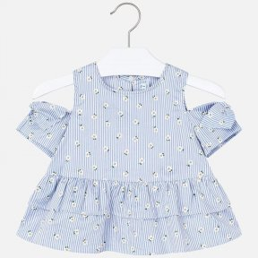 Mayoral girls blue and white striped daisy patterned open shoulder blouse and white short skirt set 3184/3905