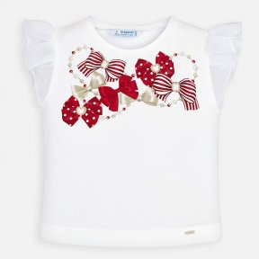 Mini Girls white shorts sleeved t shirt with red bow print