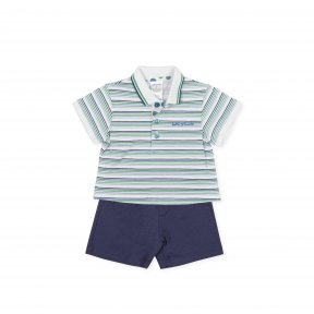 Tutto Piccolo cotton two piece set  smart green and blue striped polo shirt with a blue embroidered logo on the chest, navy shorts to match with an elastic waist.  8688