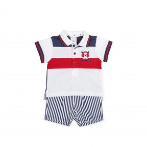Tutto Piccolo nautical shorts set made in comfortable cotton jersey. The red, white and navy blue polo shirt has oars and a lifebuoy embroidered on the chest. The navy blue and white striped shorts have an elasticated waistband. 8691