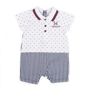 Tutto Piccolo cotton baby boys romper, this white romper has tiny red and blue patterns to the top and a nautical themed logo embroidered on the chest, the bottom half has navy blue stripes. it has popper fastening to the back & between the legs. 8291