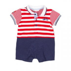 Tutto Piccolo cotton romper with a red & white striped polo style top half & Navy blue at the bottom. It has a bicycle embroidered on the top and popper fastening between the legs. 8744