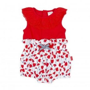 Tutto Piccolo cotton playsuit.  red top with frilled collar, the bottom has a floral red & navy blue print with a double bow detail. popper fastening to the back and between the legs. 8394