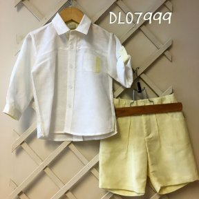 Pretty Originals yellow and white tailored shorts and shirt set