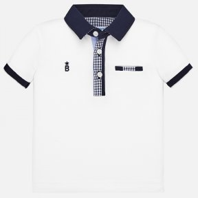 Mayoral little boys white and navy polo shirt SS20 1145