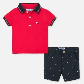 Mayoral boys shorts and polo shirt set hibiscus and navy SS20 1296