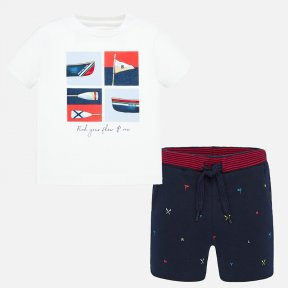Mayoral navy blue patterned shorts set, white t-shirt with nautical print 1694