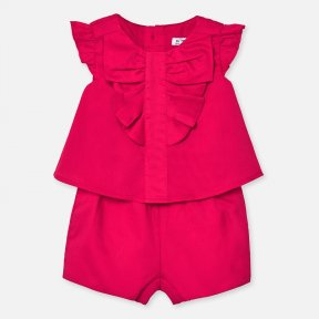 Mayoral sleeveless playsuit in a watermelon colour, 100% cotton, ruffle detail. 1894