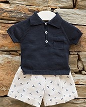 Wedoble 2 piece navy & cream anchor shorts set