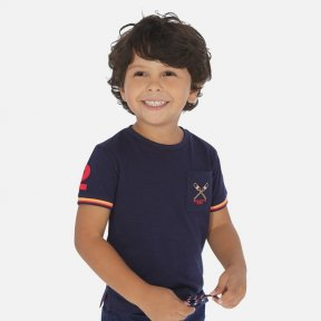 Mayoral boys navy blue t-shirt with a round neckline, pocket detail on the front with embroidered motif & striped detail to the edge of the sleeves. 100% cotton 3058