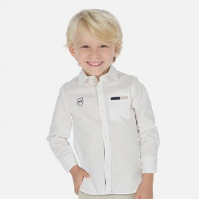 Mayoral white long sleeved shirt, elbow patches & functional front pocket. 100% cotton 3171