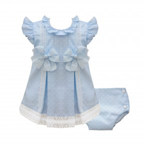 Pretty Originals pale blue & white polka dot dress set, white lace trims, striped bow detail, headband  MT02022