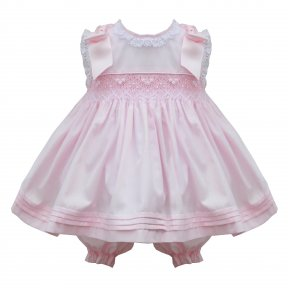 Pretty Originals pink smocked dress with bows, lace trims, matching bloomers & head band MT02029