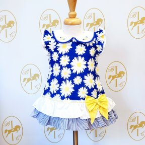 Pretty Originals Baby girls Daisy  blue white yellow Dress with ruffled bottom and big yellow bow. BD01954 SS20