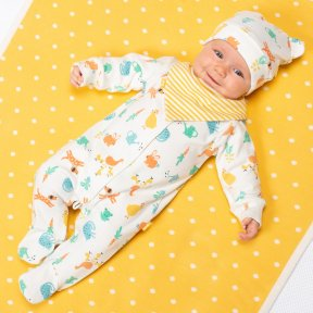 Organic cotton Animal print sleepsuit with popper fastening BU0330