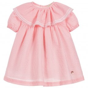 Wedoble little girls summer dress. Fully lined with full length button fastening at the back. Detailed with a pretty peter-pan collar with trim and short elasticated sleeves.