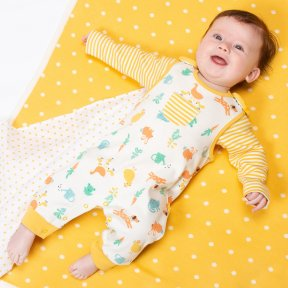 Organic cotton footless dungaree set with yellow striped vest, farm garden & animal print. BU0333