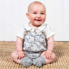 Kite Clothing grey, white cream sheep print romper with vest set. BU0346