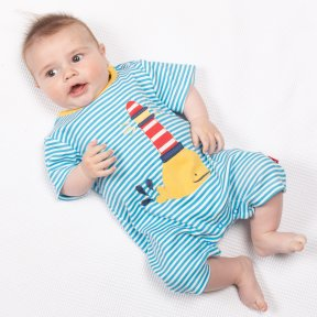 Kite clothing blue, white striped romper with whale & lighthouse applique, organic cotton popper fastening. BU0354