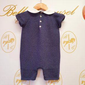 Floc baby navy cotton knitted romper, white collar, button fastening.